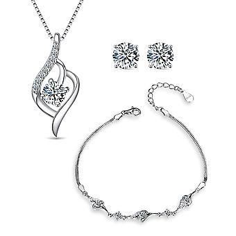 925 Sterling Silver Flame Necklace, Bracelet & Stud Earring Set