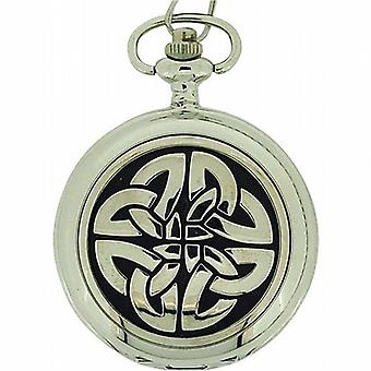 Boxx Silver Tone croix celtique cadran blanc Pocket Watch BOXX298