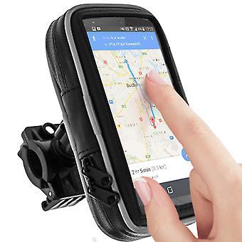 Bike /moto Holder Smartphone Handlebar Mount Waterproof Case Zip Touch - Black