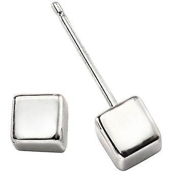 Begin kubus Stud Oorbellen - zilver