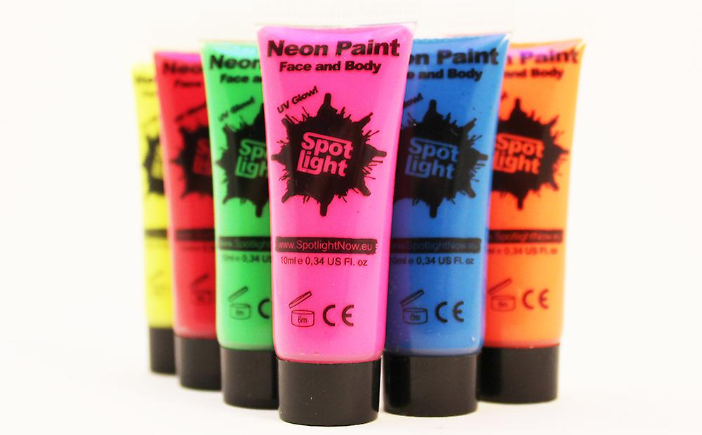 Neon UV / Blacklight Face & Body Paint Spotlight - 6x10ml