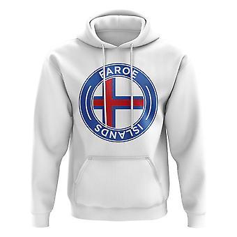 Färöarna fotboll Badge hoodie (vit)