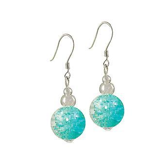 Eternal Collection Dominica Aqua Crackle Bead Silver Tone Drop Pierced Earrings