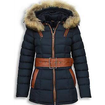 Blue winter coat ladies with fur collar-Parka women's jacket