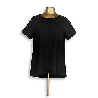 H di Halston Women's Top French Terry Short Sleeve con Black A292016