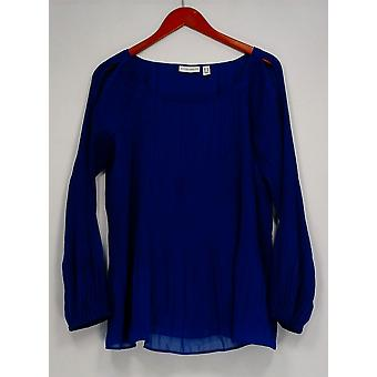 Susan Graver Women's Top Pleated Woven Cold Shoulder Punch Blue A300533