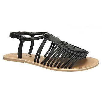 Leather Collection Womens/Ladies Leather Flat Strappy Sandals