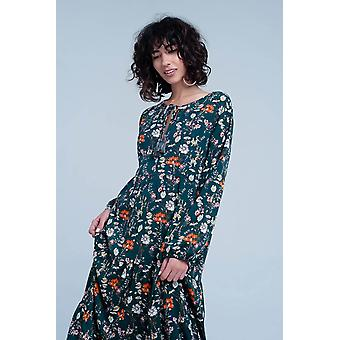 Green dress with floral print