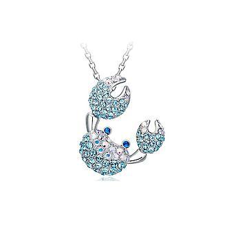 Pendentif Crabe orné de cristal de Swarovski Bleu et Plaqué Rhodium