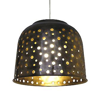 Antique Brass Metal Dome Pendant Shade (with Holes) - 32cm