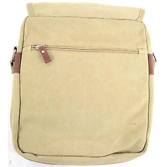 Handy Unisex Canvas Shoulder / Messenger Bag - Khaki Sand