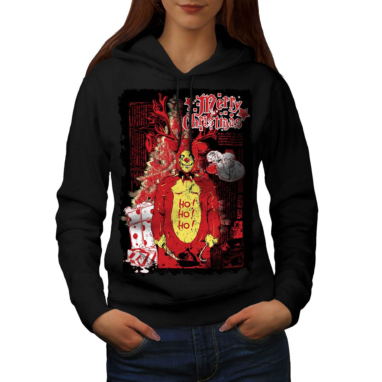 Evil Merry Christmas Reindeer Women Black Hoodie | Wellcoda