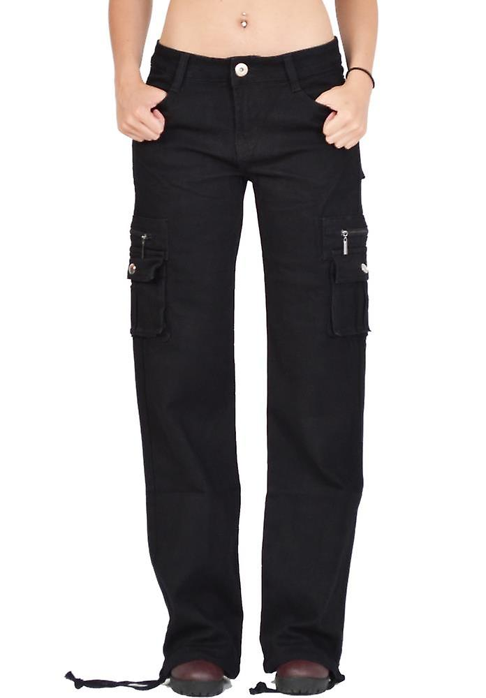 Wide Cargo Trousers - Black