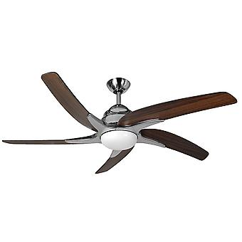 Ceiling fan Viper Plus Stainless Steel / dark Oak with LED lighting 112 cm / 44""