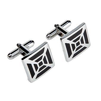 Marcell Sanders mens cuff links square propeller black stainless steel