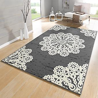 Designer velour carpet lace grey cream | 102421