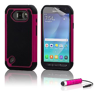 Shock proof case + stylus for Samsung Galaxy S6 Active (SM-G890) - Hot Pink