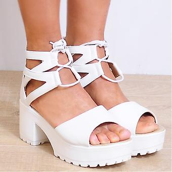 Koi Couture Ladies D34 White Strappy Sandals