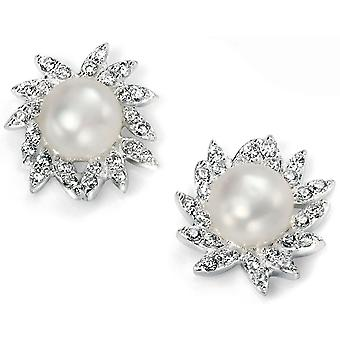 925 plata perla y aretes de circonio