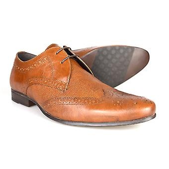 Red Tape George Tan Leather Mens Brogue Gibson Shoes