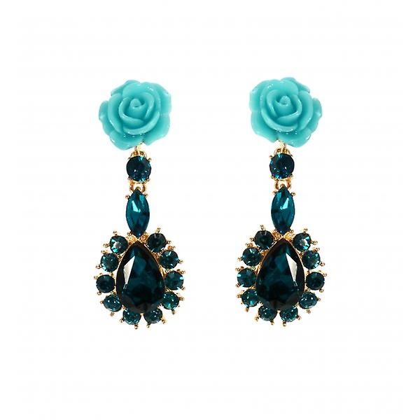 W.A.T Turquoise Rose And Teal Crystal Teardrop Shaped Fashion Earrings