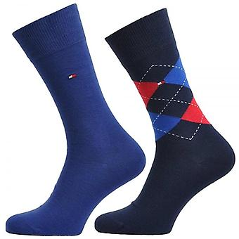 Tommy Hilfiger Check 2-Pack cotone Logo calzini, Tommy classici, 43/46