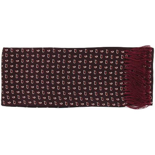 Michelsons of London Small Pine Silk Scarf - Burgundy