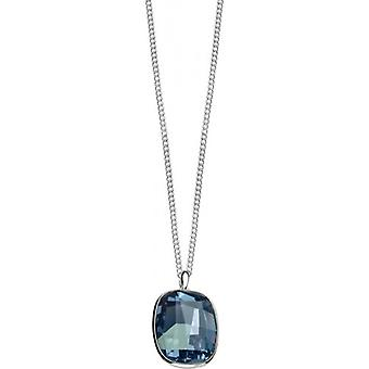 Elements Silver Curved Square Pendant - Silver/Blue