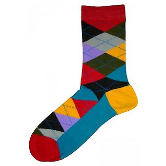 Bassin and Brown Argyle Socks - Multi-colour