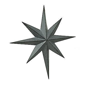 Rustic Galvanized Finish Metal 8 Pointed Star Wall Hanging 25 inch