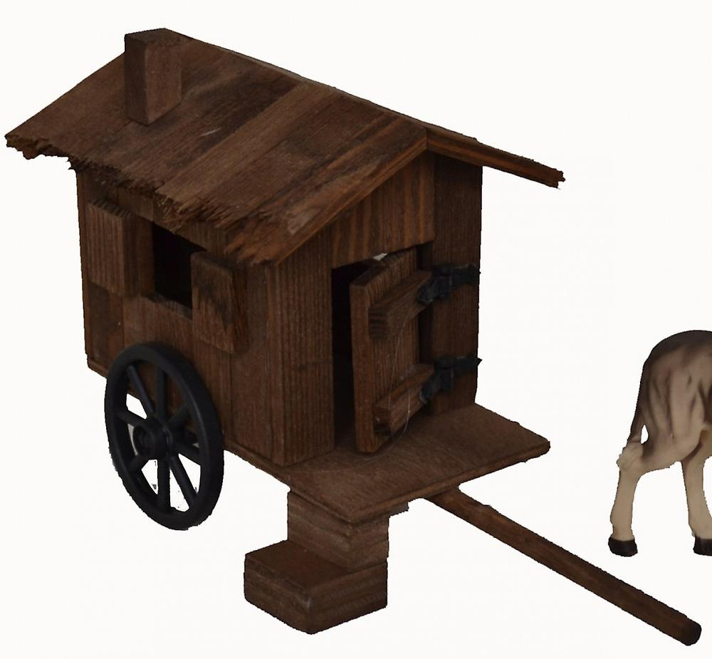Donkey with Schäfer car wood cart for Christmas Nativity stable Nativity accessories