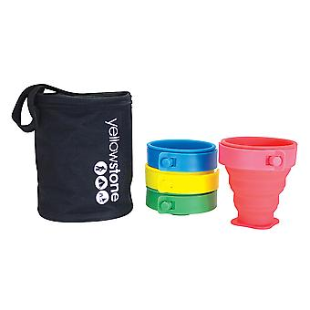 Yellowstone 4 Folding Silicone Travel Mugs with Carry Pouch