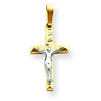 14k Two-Tone Polished Flat back Gold INRI Hollow Crucifix Pendant - .5 Grams - Measures 11.3x25.3mm