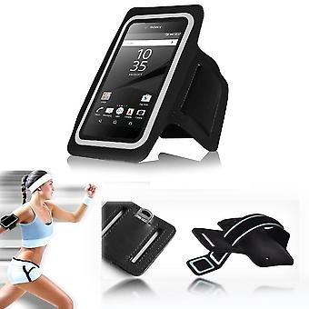 InventCase Smartphone Sports Gym Jogging Running Armband Case Cover Sleeve Pouch - Black (Size: 5.5