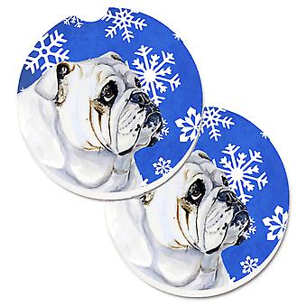 Bulldog English Winter Snowflakes Holiday Set of 2 Cup Holder Car Coasters