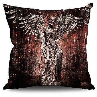 Angel Skeleton Rock Skull Linen Cushion Angel Skeleton Rock Skull | Wellcoda