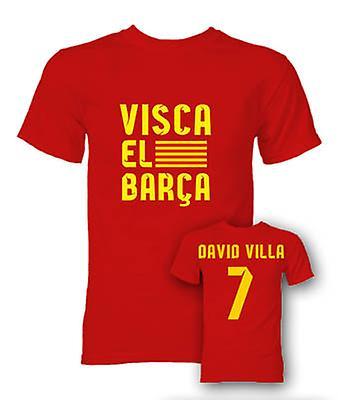 David Villa Visca El Barca hjälte T-Shirt (röd)