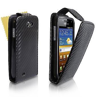 Samsung Galaxy W I8150 carbono fibra cuero efecto tirón caso