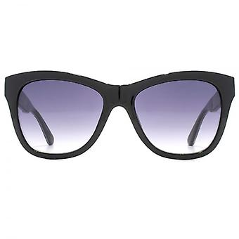 Guess Leopard Tip Geometric Sunglasses In Shiny Black