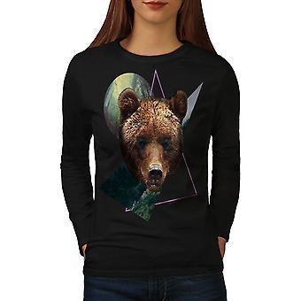 Bear Beast Moon Animal Women BlackLong Sleeve T-shirt   Wellcoda