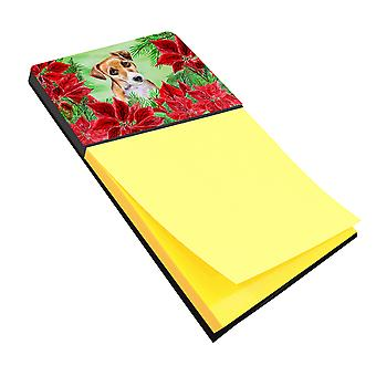 Jack Russell Terrier #2 Poinsettas Sticky Note Holder