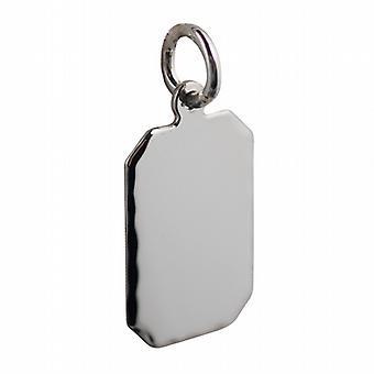 Sølv 18x12mm diamant kuttet kant kuttet hjørne rektangulære plate