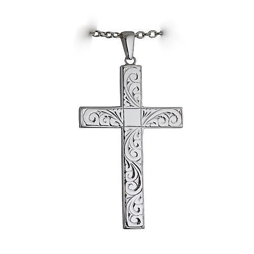 Silver 60x38mm hand engraved solid block Cross with a Cable link chain