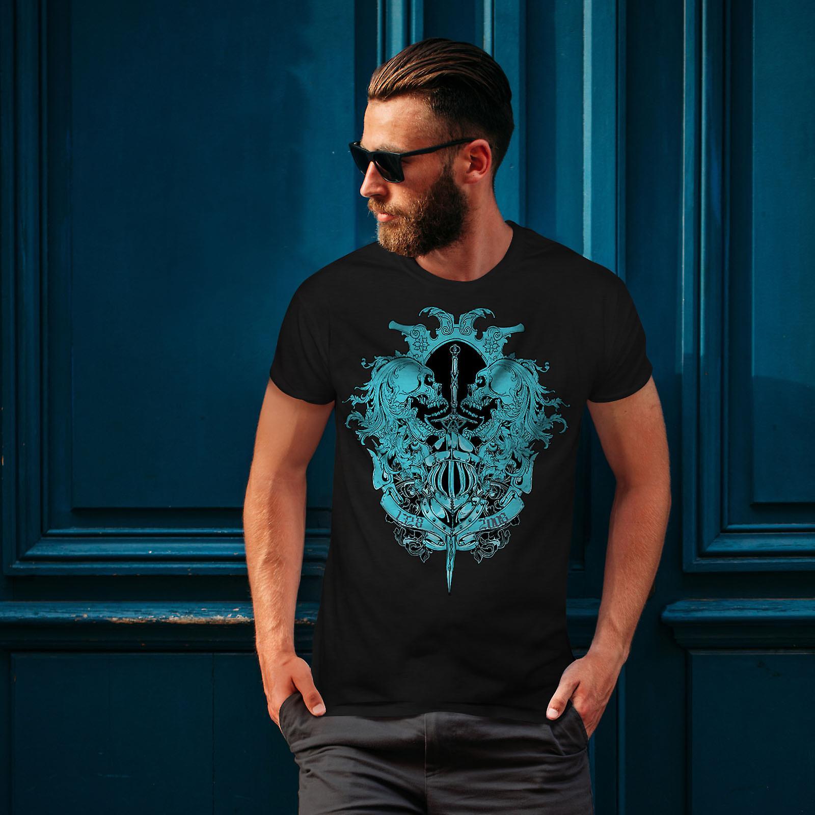 Fantasma calavera hombres muertos Vintage BlackT-camisa   Wellcoda