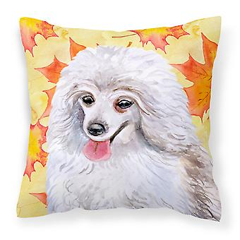 Medium White Poodle Fall Fabric Decorative Pillow