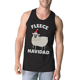 Fleece Navidad Mens Black Cotton Sleeveless Shirt Workout Sleeveless Top
