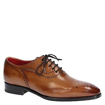 Handmade men's full brogue oxford shoes in tan leather