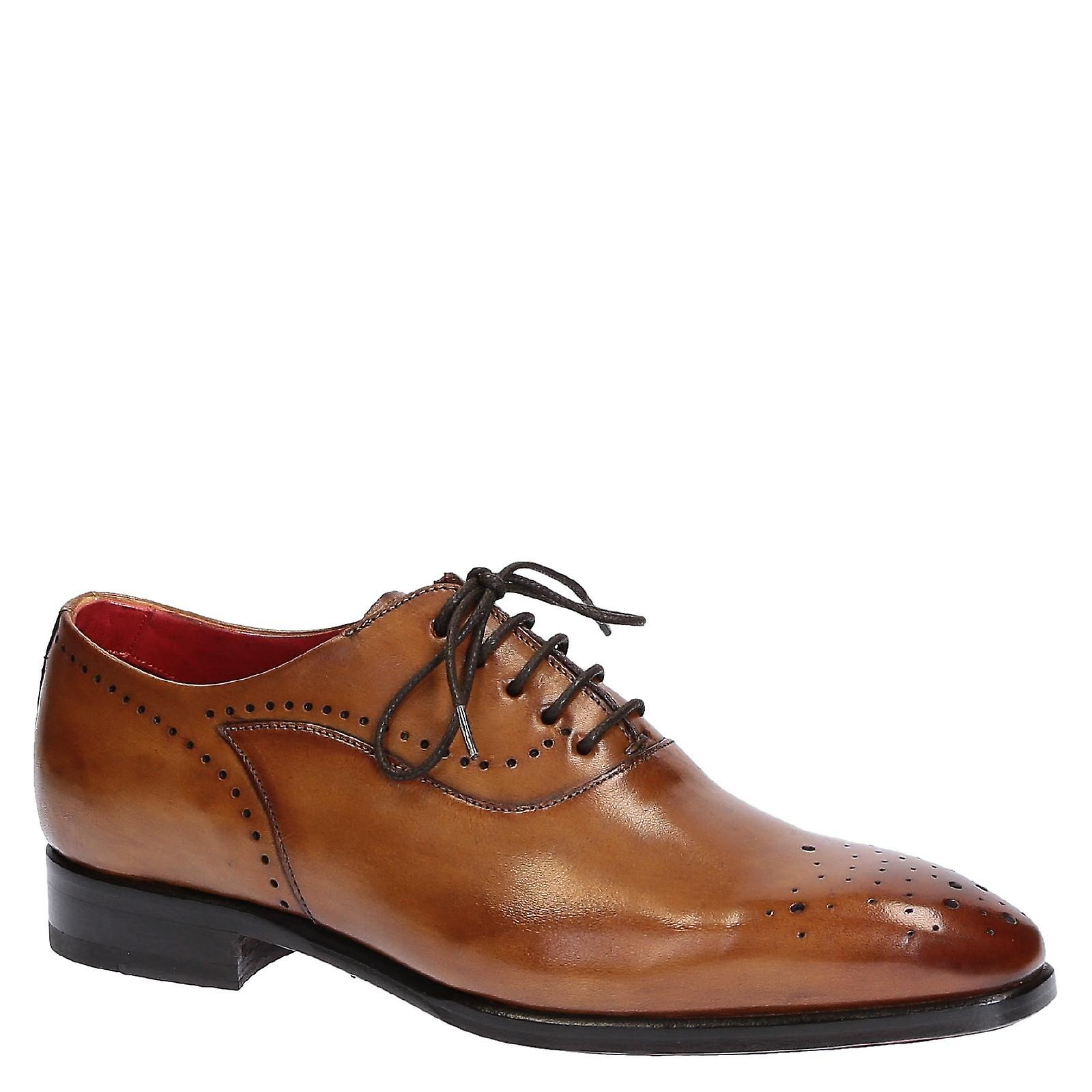 Handmade men's in full brogue oxford shoes in men's tan leather 711e3a