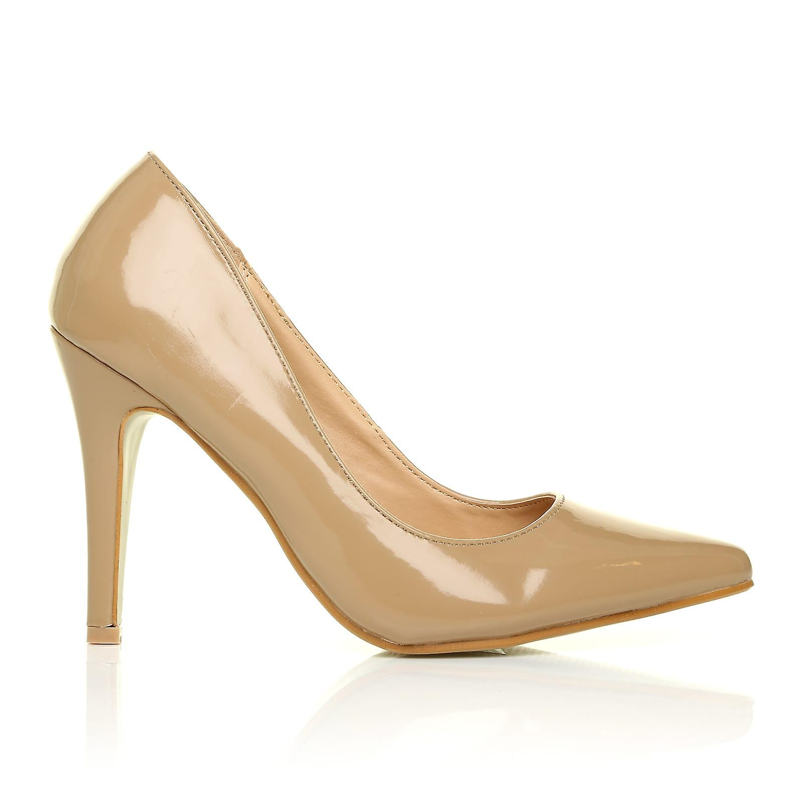 DARCY Dark Nude Pointed Patent PU Leather Stilleto High Heel Pointed Nude Court Shoes 97b602