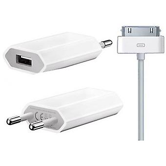 2 in 1 Apple iPhone 3 G, 4, 4S iPod power adapter + charger data cable charger white